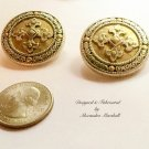 Big  Gold & Silver Tone Button Stlye w/ Byzantine Cross Earrings w/ Cllips or Posts