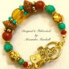 Amber, Turquoise, And Orange Sgemstone & India Glass Bracelet
