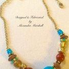 Light Weight Turquoise Magnesite, Red Jasper, Amber Acrylic, & Gemalia Wood Necklace