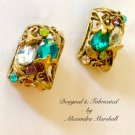 Art Noveau Florentine Gold Finish w/ Aqua, Purple & Lime Crystal Earrings w/ Cllips or Posts