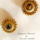 Florentine Gold Finished Domed & Studded Topaz Crystal Clip Earrings