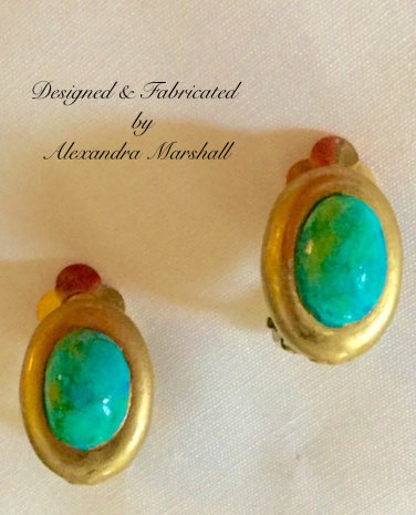 """Turquoise"" & Matte Gold Finished Oval Cabochon Earrings w/ Clips or Posts"