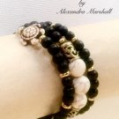 Brown and Bisque Memory Wrap Bracelet w/Turtle Finials