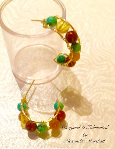 Turquoise Magnesite, a Red a Jasper, & Golden Amber Wire Wrapped Earring Hoops w/Posts
