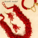 "Red ""Coral"" Fringe Beadwoven Necklace $89."