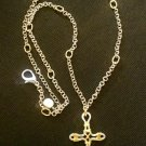 Artisan Crafted Silver & Gold Wire Wrapped Cross Necklace With Long Chain