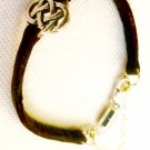 Soft Hot Fudge Leather, Sterling, and Pewter Celtic Knot Bracelet