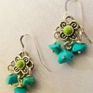 Turquoise and Lime Green Sterling & Pewter Earwires