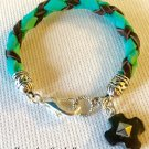 Child's Hand Woven Turquoise and Chocolate Leather Bracelet
