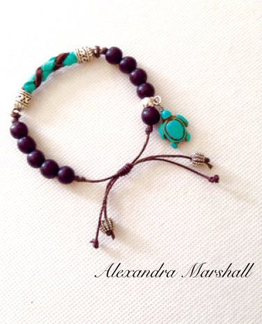 Hand Woven Turquoise and Chocolate Leather Braid Bead Bracelet