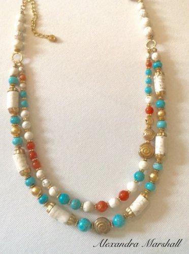 Turquoise, Cream, and Orange Double Strand Gemstone Necklace