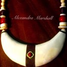 Faux Ivory, Coral, and Linen Tribal Bib Necklace