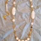 Matte White Quartz and Vintage Resin Beaded Chain Necklace