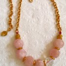 Artisan Crafted Necklace w/Giant Hand Carved Beryl Morganite Boules