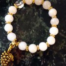 White Quartz and 18K Gold Plate Bacchus Charm Bracelet