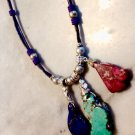 Purple, Turquoise, & Fucshia Gemstone Slab & Leather Necklace