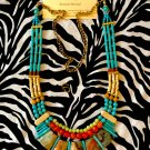 Adjustable Length Turquoise, Green, Orange, and Bone Gemstone Tribal Fusion Necklace