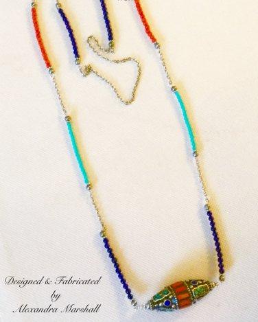 Tibetan Silver, Blue Lapis, Orange Coral, and Mosiac Inlaid Turquoise Amulet Necklace