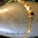 Beige Gemstone and Chain Link Bracelet W/Hidden Stretch Panel