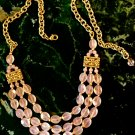 Triple Strand Rose Quartz Crystal and Florentine Gold Finished Adjustable Length Necklace