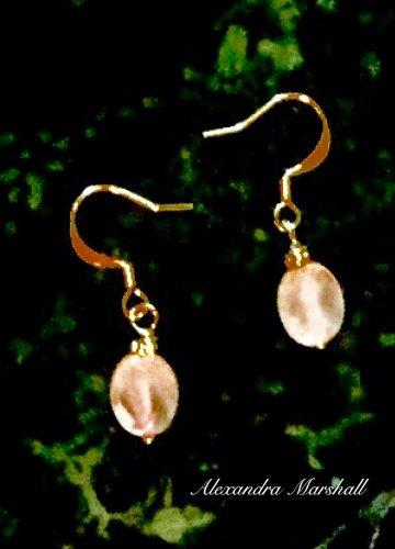 Elegant Pink Rose Quartz 14K Gold a Filled Ear Wires