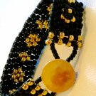 Black and Golf Beaded Cuff Bracelet with Button Clasp