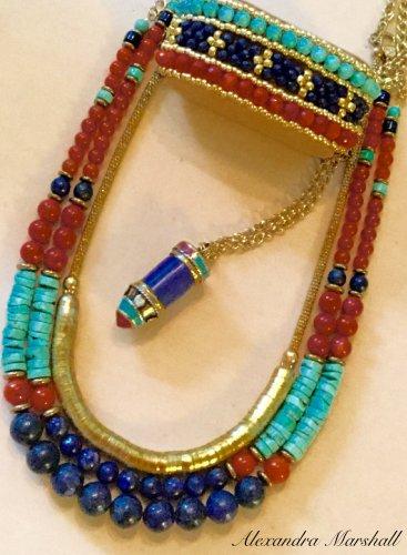 Set of 7  Turquoise, Deep Blue, and Burnt Orange Gemstone  Necklaces and Bracelets