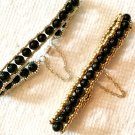 Black Jade Stacking Bracelet with Your Choice of Silver or Gold Trim