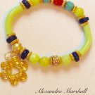 Lime Green, Turquoise,  Navy Blue, & Deep Red-Orange Ladies Stretch  Bracelet