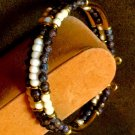 Ladies Cream and Chocolate Brown 3 Tier Gemstone Casual Bangle Bracelet