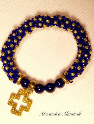 Ladies  Navy Blue & Gold Hand Beaded Stretchy Bangle Bracelet