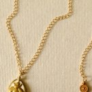 """Ladies Gold  And White Reversable Pendant  24"""" Necklace"""