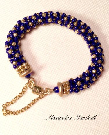 Ladies  Cobalt Blue and Matte Gold Finish Beaded Bracelet w/Magnetic Clasp