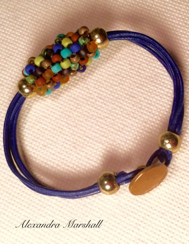 Ladies  Dark Blue Leather & Multicolored Beaded Bead Bracelet w/ Button Clasp