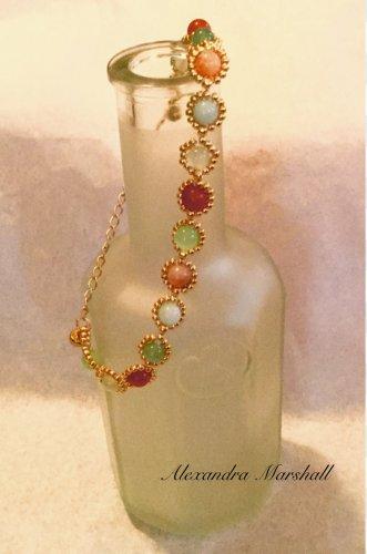 Ladies Aqua, Celadon, and Peach Gold Finished Beaded Bezeled Gemstone Bracelet
