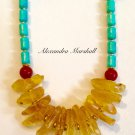 Ladies Chunky Statement Necklace With Amber, Turquoise, and Red-Orange Agate