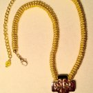 Unisex Gold and Antique Silver Finished Ndebelle Stitched Pendant Necklace