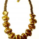 Bronze-Gold Chunky Nuggets Statement Necklace