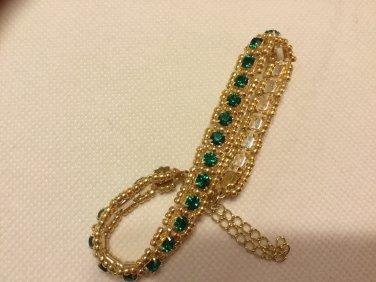 Ladies Emerald Green Swarovski Crystal Tennis Bracelet