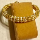 Ladies Pearl and Gold Beaded Bangle BraceletBracelet