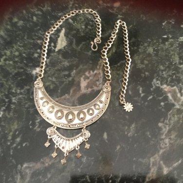 Ladies Pewter Boho Chic Layered Bib Necklace