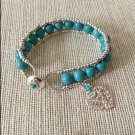 Women's Silver Seed Beaded & Turquoise Magnesite  Wrap Style Bracelet