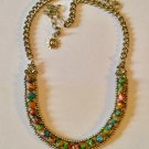 Versatile Multicolored Gemstone and Antique Silver Finished Beaded Bib Necklace