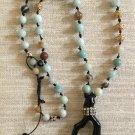 Ladies Long Hand Tied Pastel Gemstone and  Black Coral Branch Necklace