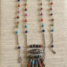 Women's Artisan Crafted Long Vivid Colored Gemstone Boho Ladder Pendant Necklace