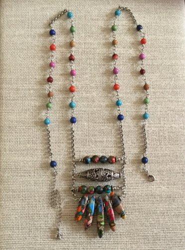 Women's Artisan Crafted Long Vivid Colored Gemstone Boho Ladder Pendant Necklace