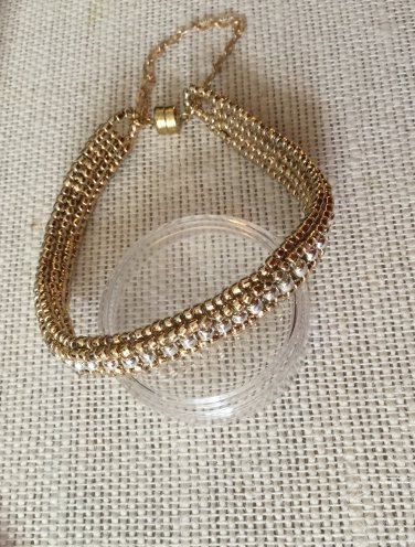 Women's Reversible Gold and Silver Hand Beaded Bracelet