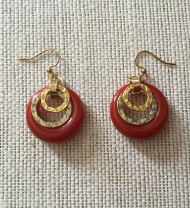 Red Resin And Gold Tone Hoop Earrings