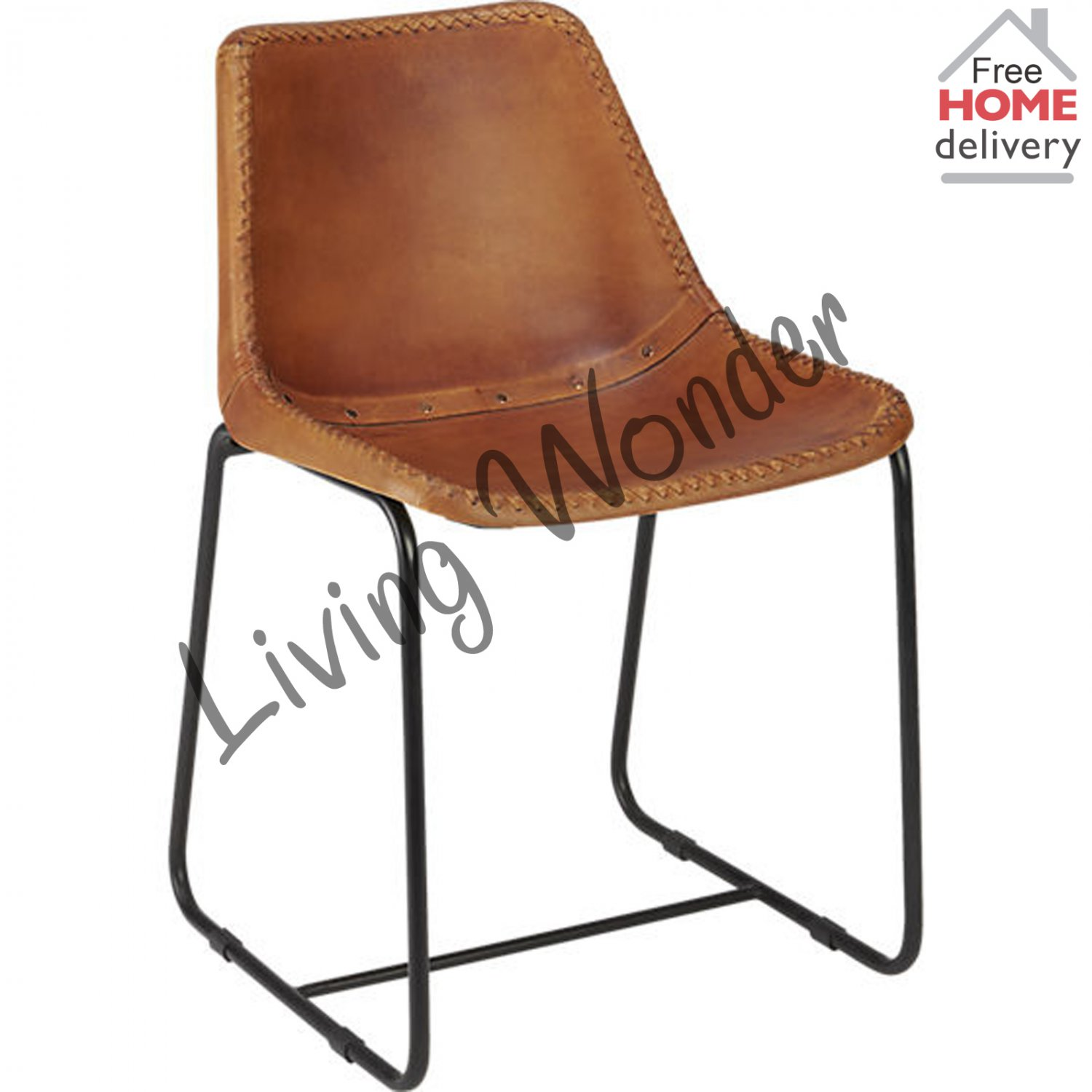 Industrial leather dining chair - Leather Office Chair Brown Dining Chairs Industrial Leather Dining Chair