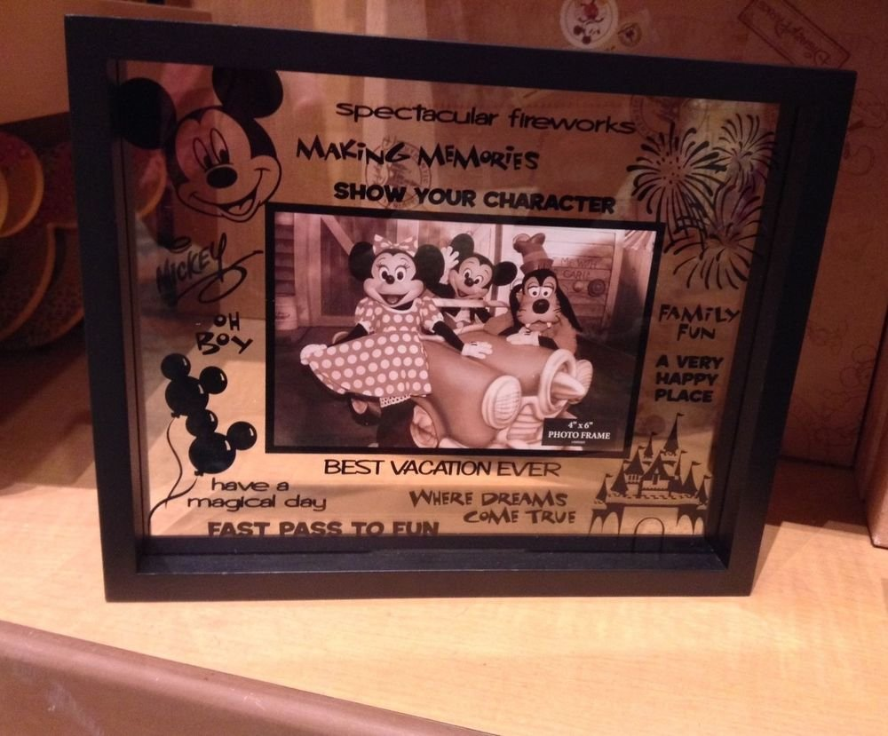 "Disney Parks Glass Picture Photo Frame with Quotes HOLDS A 4""X6"" photo NEW"